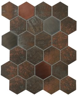 Metalgres Metallic Antique Iron Hexagon 62x72 Porcelain Mosaic