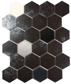 Metalgres Metallic Antique Silver Hexagon 62x72 Porcelain Mosaic