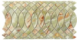Surfing Border Natural Stone Marble Green Onyx 310x168 Sheet Polished Mosaic