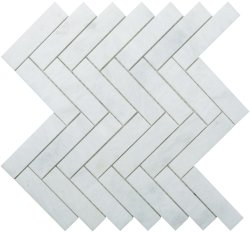 Herringbone Natural Stone Marble Pearl White 25x100 Honed Mosaic