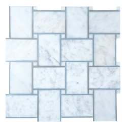 Grand Basket Weave Natural Stone Marble Carrara Venatino + Moonstone 300x300 Sheet Polished Mosaic