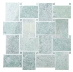 Grand Basket Weave Natural Stone Marble Green Opal + Thassos 300x300 Sheet Polished Mosaic