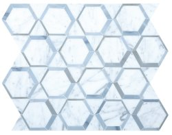 Space Natural Stone Marble Carrara Venatino + Moonstone 300x347 Sheet Polished Mosaic