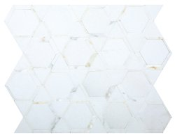Space Natural Stone Marble Thassos + Calacatta Gold 300x347 Sheet Polished Mosaic