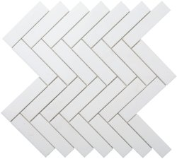 Herringbone Natural Stone Marble Thassos 25x100 Honed Mosaic