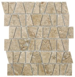 Castle Natural Stone Marble Travertine Noce 300x260 Sheet Polished + Honed|Mixed Mosaic