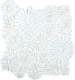 Pin Wheels Crystal Glass Super White Glossy  mosaic