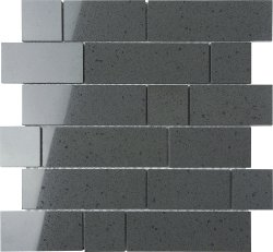 Everquartz Gunmetal Original Brick Polished Porcelain Mosaic