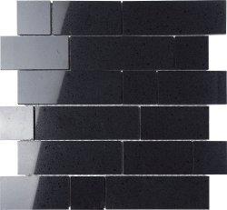 Everquartz Black Pearl Original Brick Polished Porcelain Mosaic
