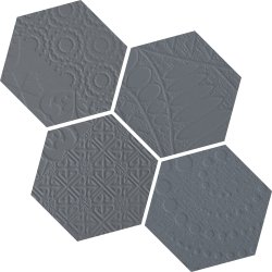 Durastone 3D Relief Hexagon 150x130 Mosaic Steel Grey a Mixed Pattern