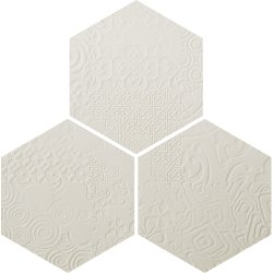 Durastone 3D Relief Hexagon Tile Crema Luna Classico 300x260 (3 tiles illustrating varied pattern)
