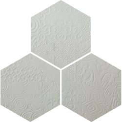 Durastone 3D Relief Hexagon Tile Ash Grey Classico 300x260 (3 tiles illustrating varied pattern)